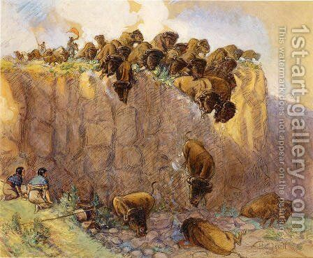 Driving Buffalo Over the Cliff by Charles Marion Russell - Reproduction Oil Painting