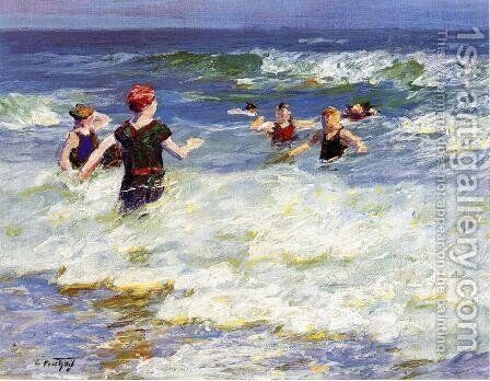 In the Surf I by Edward Henry Potthast - Reproduction Oil Painting