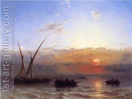 Fishing Boats at Sunset by Edward Moran - Reproduction Oil Painting
