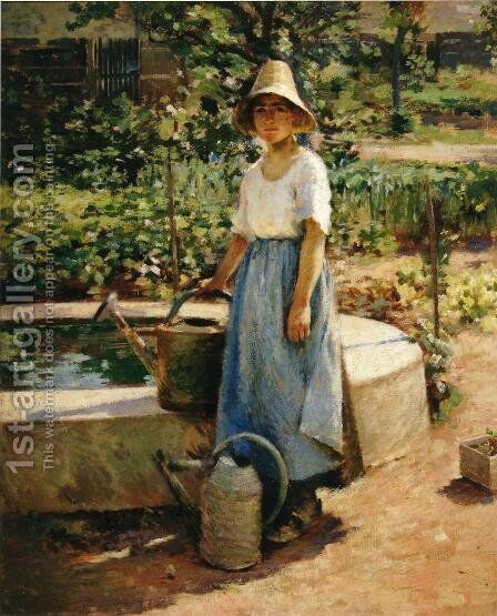 At the Fountain by Theodore Robinson - Reproduction Oil Painting