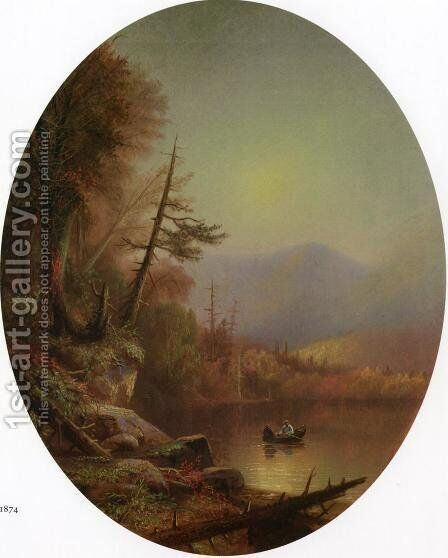 Round Lake, Hamilton County, NY by Augustus Rockwell - Reproduction Oil Painting