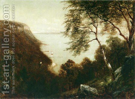 View of Palisades, Hudson River by David Johnson - Reproduction Oil Painting