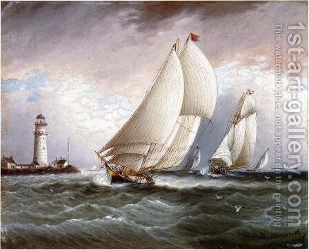 Yacht Race Near Lighthouse by James E. Buttersworth - Reproduction Oil Painting