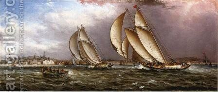 Yacht Race in Gloucester Harbor by James E. Buttersworth - Reproduction Oil Painting