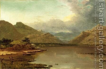 Lake with Boaters by John Frederick Kensett - Reproduction Oil Painting