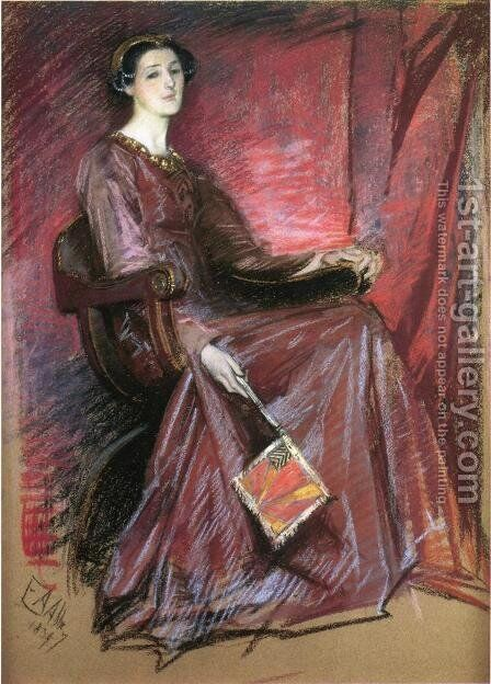 Seated Woman Wearing Elizabethan Headdress by Edwin Austin Abbey - Reproduction Oil Painting