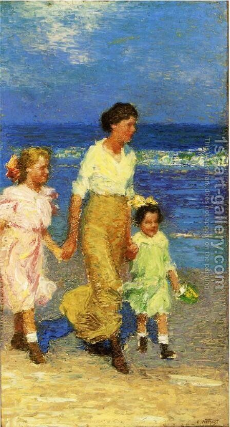 A Walk on the Beach by Edward Henry Potthast - Reproduction Oil Painting