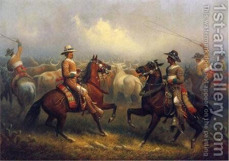 California Vaqueros by James Walker - Reproduction Oil Painting