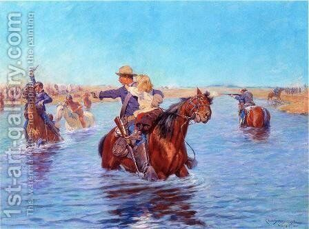 In Safe Hands by Charles Schreyvogel - Reproduction Oil Painting