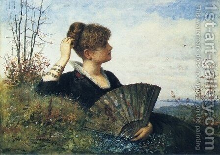 The Fan by James Wells Champney - Reproduction Oil Painting