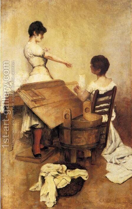 Washerwomen by Charles Frederick Ulrich - Reproduction Oil Painting