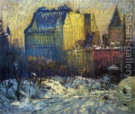A View of the Plaza from Central Park in Winter by Arthur C. Goodwin - Reproduction Oil Painting