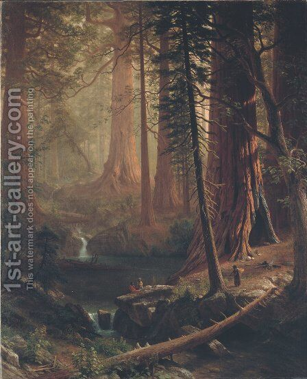 Giant Redwood Trees of California by Albert Bierstadt - Reproduction Oil Painting
