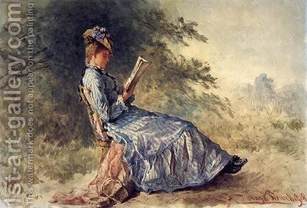 Seated Girl Reading by Hugh Newell - Reproduction Oil Painting
