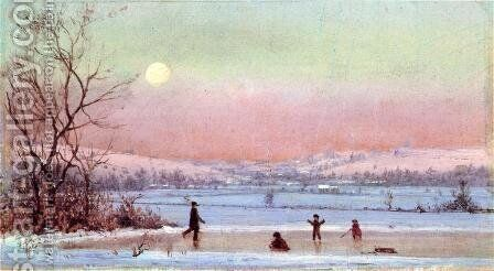Ice Skating near Hudson by Jervis McEntee - Reproduction Oil Painting