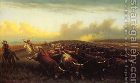 Cattle Drive No. 1 by James Walker - Reproduction Oil Painting