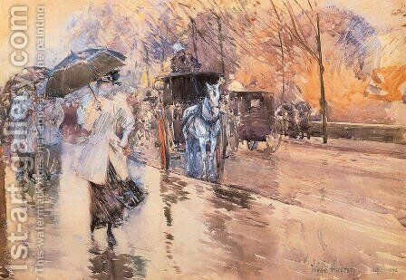 Rainy Day on Fifth Avenue by Frederick Childe Hassam - Reproduction Oil Painting