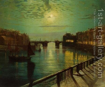Whitby Harbor by Moonlight by John Atkinson Grimshaw - Reproduction Oil Painting