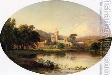 Castle by a Lake by Jasper Francis Cropsey - Reproduction Oil Painting
