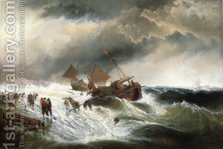 Shipwreck by Edward Moran - Reproduction Oil Painting