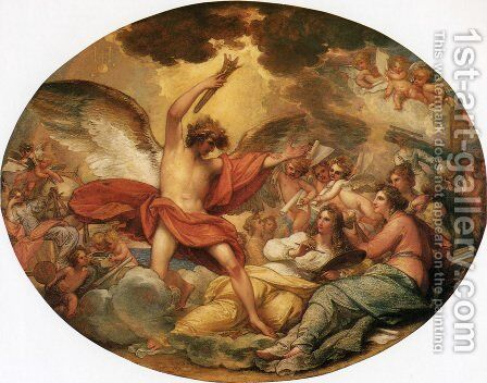 Genius Calling Forth the Fine Arts to Adorn Manufactures and Commerce by Benjamin West - Reproduction Oil Painting