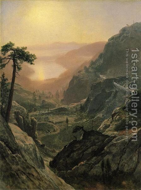 View of Donner Lake, California I by Albert Bierstadt - Reproduction Oil Painting