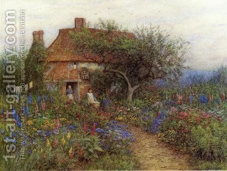 A Cottage near Brook, Witley, Surrey by Helen Mary Elizabeth Allingham, R.W.S. - Reproduction Oil Painting