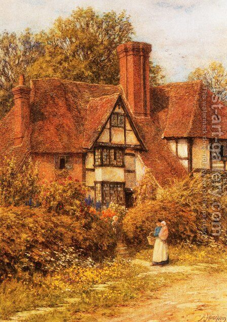 Manor House, Kent by Helen Mary Elizabeth Allingham, R.W.S. - Reproduction Oil Painting