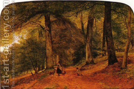 A Beech Wood by Benjamin Williams Leader - Reproduction Oil Painting