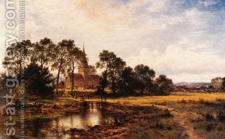 Shere Church by Benjamin Williams Leader - Reproduction Oil Painting