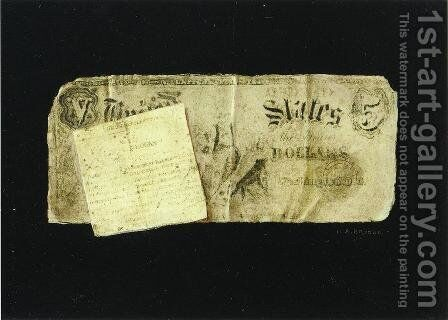 Five Dollar Bill and Clipping by Nicholas Alden Brooks - Reproduction Oil Painting