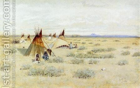 Camp of Standing Bear by Dwight W. Huntington - Reproduction Oil Painting
