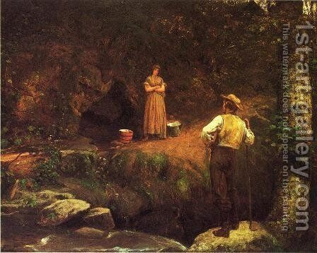 The Early Lovers by Eastman Johnson - Reproduction Oil Painting