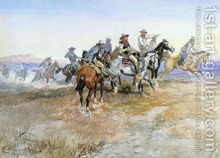 Start of Roundup by Charles Marion Russell - Reproduction Oil Painting