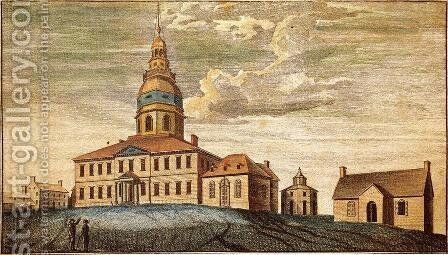A Front View of Statehouse at Annapolis by Charles Willson Peale - Reproduction Oil Painting