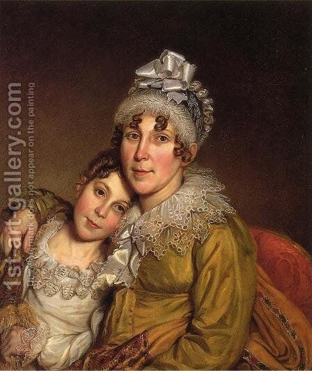 Mother Caressing Her Convalescant Daughter by Charles Willson Peale - Reproduction Oil Painting
