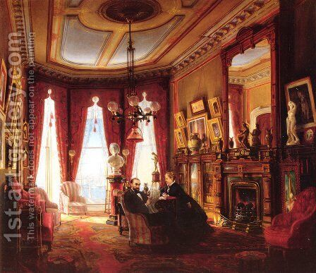 Parlor on Brooklyn Heights of Mr. and Mrs. John Ballard by Edward Lamson Henry - Reproduction Oil Painting