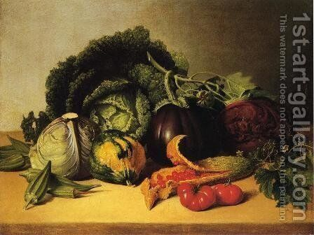 Still Life: Balsam Apples and Vegetables by James Peale - Reproduction Oil Painting