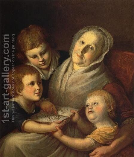 The Artist's Mother, Mrs. Charles Peale, and Her Grandchildren by Charles Willson Peale - Reproduction Oil Painting
