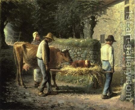 Peasants Bringing Home a Calf Born in the Fields by Jean-Francois Millet - Reproduction Oil Painting