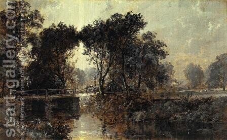 Bridge on the Wawayanda River by Jasper Francis Cropsey - Reproduction Oil Painting