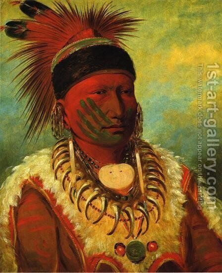 The White Cloud, Head Chief of the Iowas by George Catlin - Reproduction Oil Painting