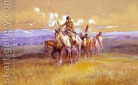 Indian Party by Charles Marion Russell - Reproduction Oil Painting