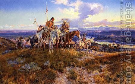 Wagons by Charles Marion Russell - Reproduction Oil Painting