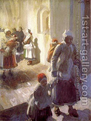 Christmas Morning Service by Anders Zorn - Reproduction Oil Painting