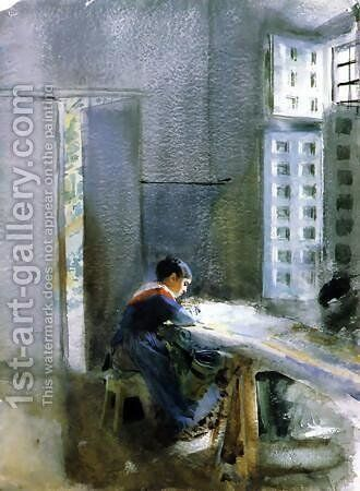 Wallpaper Factory by Anders Zorn - Reproduction Oil Painting