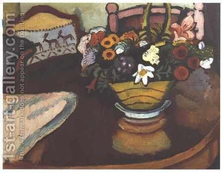 Still Life with Stag Cushion and Flowers by August Macke - Reproduction Oil Painting