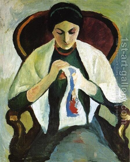 Woman Embroidering in an Armchair: Portrait of the Artist's Wife by August Macke - Reproduction Oil Painting