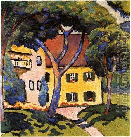 Staudacher's House at Tegernsee by August Macke - Reproduction Oil Painting