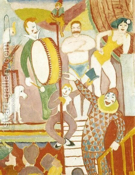 Curcus Picture II: Pair of Athletes, Clown and Monkey by August Macke - Reproduction Oil Painting